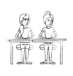 Blurred silhouette women sitting in desk one with vector