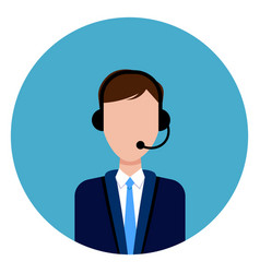 call service support male worker icon round blue vector image vector image