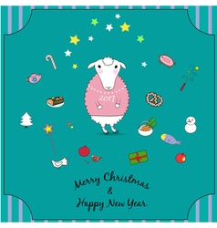 Cartoon christmas sheep with sweater and skates vector