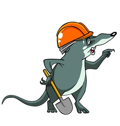 Cartoon shrew in a helmet with a shovel vector