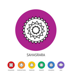 Chakras set spirituality and energy healing vector