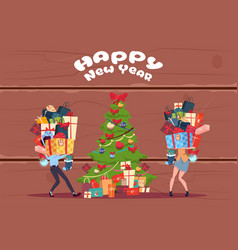 couple bring stack of present boxes to christmas vector image