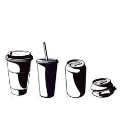 cups and cans set vector image