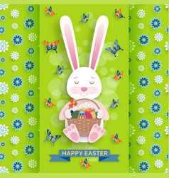Cute easter background with bunny and wicker vector
