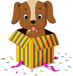 Dog cartoon coming out of gift box vector