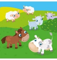 Farm animals on the meadow vector