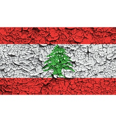 Flag of Lebanon with old texture vector image