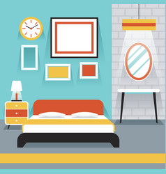 Furniture display in room bedroom vector