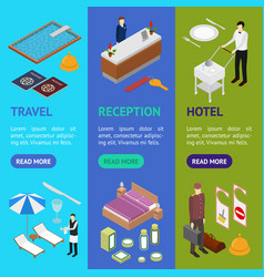 hotel service banner vecrtical set isometric view vector image vector image