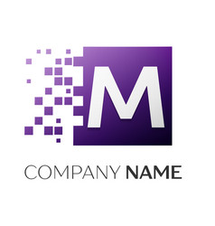letter m logo symbol in the colorful square with vector image