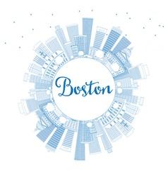 Outline boston skyline with blue buildings vector