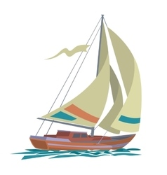 Sea yacht with olive sails and water vector