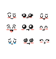 Set kawaii cute tender faces with expression vector