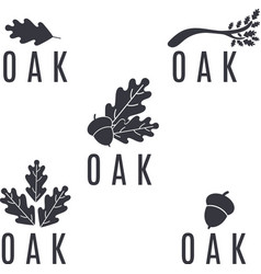 set of logos on an oak tree with leaves and acorns vector image vector image
