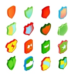 Shield icons set in isometric 3d style vector image vector image