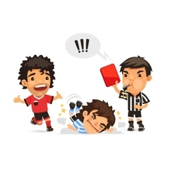 Soccer player who making tackle foul and Referee vector image