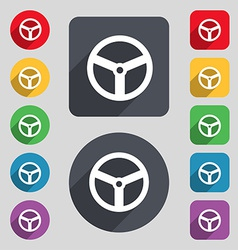 Steering wheel icon sign A set of 12 colored vector image