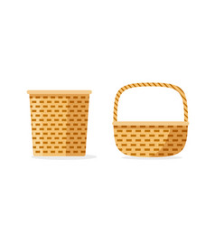Wicker basket icons isolated flat cartoon vector