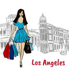 woman on rodeo drive vector image vector image