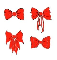 Bright red bows vector