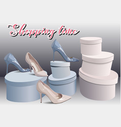 shopping in shoes store fashion boutique can be vector image