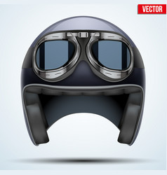 Vintage motorcycle helmet with goggles vector