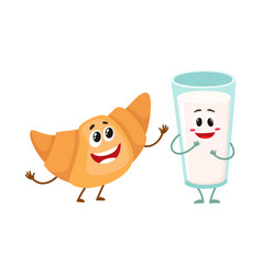 Funny smiling glass of milk and croissant vector