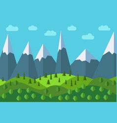 Panoramic mountain cartoon landscape vector