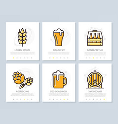 set of beer and bar pub colored elements for vector image