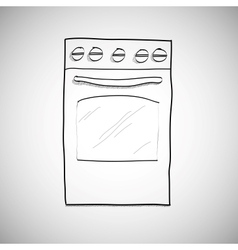 Gas stove - hand drawn sketch vector