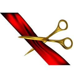 Scissors cut the ribbon vector