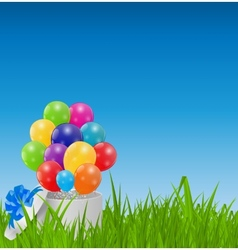 Glossy balloons on drass field vector