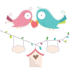 Of two cute birds in love wedd vector