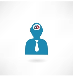 Man with cogs in head icon vector