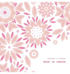 Pink abstract flowers frame corner pattern vector