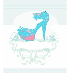Abstract fashion shoes vintage poster vector
