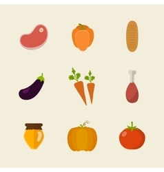 Flat design colored of food vector