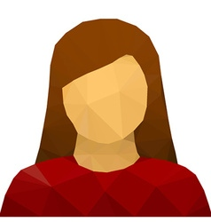 Triangular female user avatar icon vector