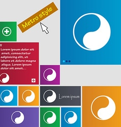 Yin yang icon sign buttons modern interface vector
