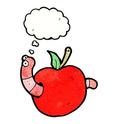 Cartoon worm in apple with thought bubble vector