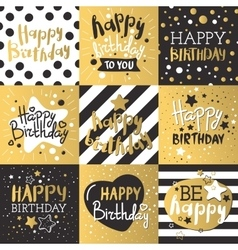 Set of beautiful birthday invitation cards vector