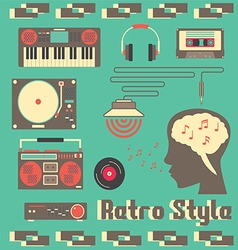 Music retro devices style vector
