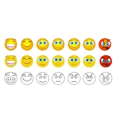 From negative to positive emoji emotions isolated vector
