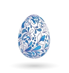 Easter egg with bright floral pattern vector