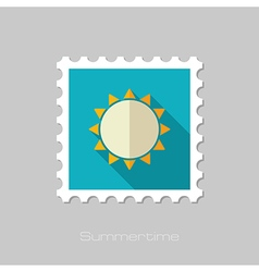 Sun flat stamp summer vacation vector