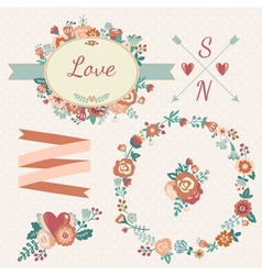 Hand drawn floral collection with design elements vector