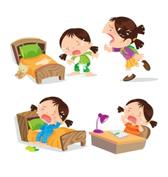 Cute girl crying cartoon many action vector