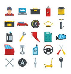 auto service with tools and car flat icons set vector image vector image