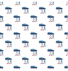 Blue car on a scissor lift platform pattern vector