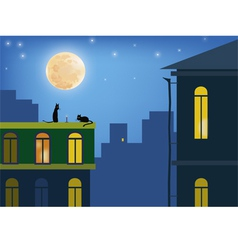 cats in the moonlight vector image vector image